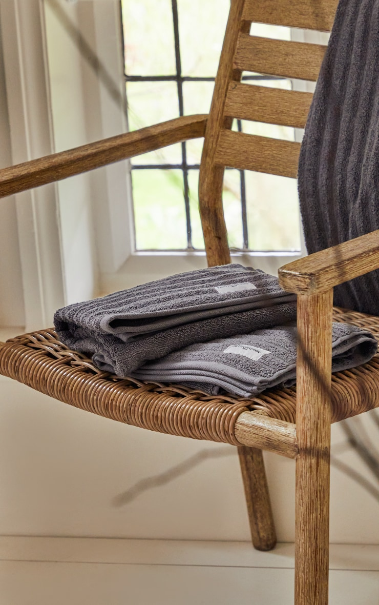 Charcoal Textured Ribbed 2 Pack Cotton Hand Towel 2