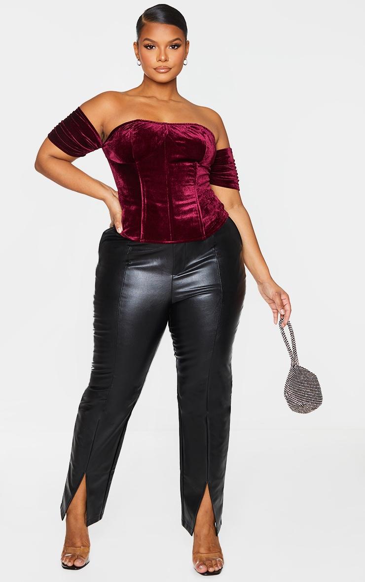 Plus Burgundy Velvet Lace Up Back Corset 1