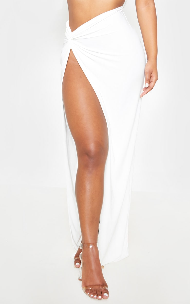 White Slinky Extreme Split Knot Front Maxi Skirt 3