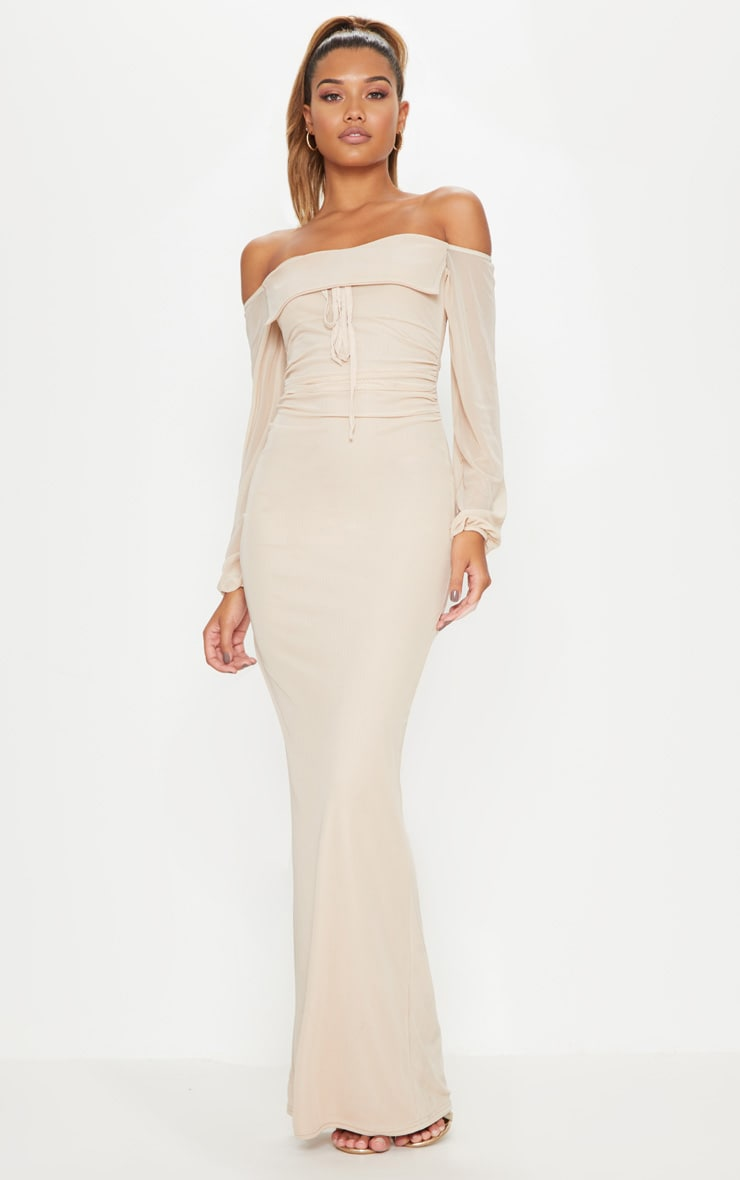 Nude Mesh Ruched Square Neck Maxi Dress 1