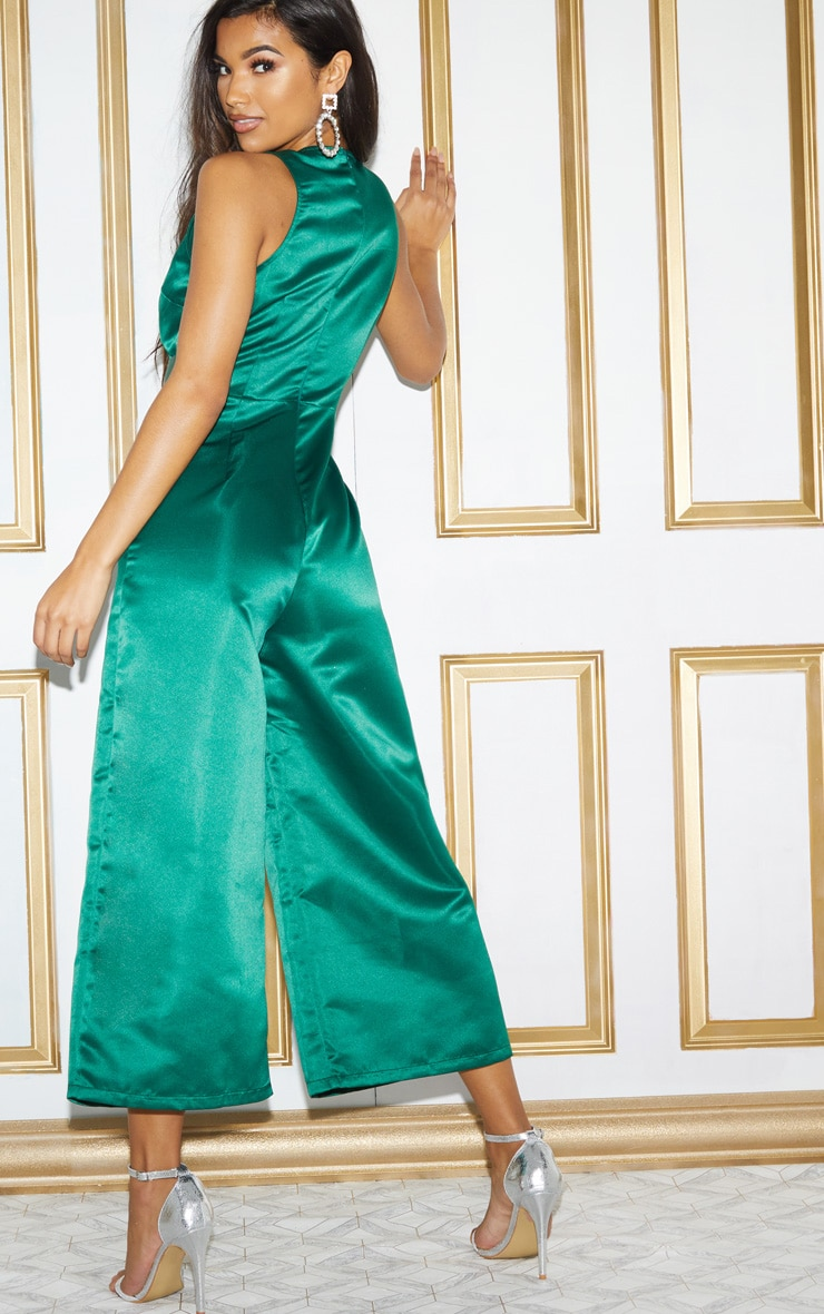 Green Satin Belt Culotte Jumpsuit 3