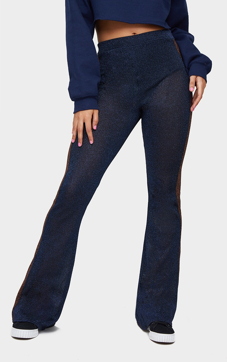 Navy Metallic Contrast Panel Sheer Flared Trousers 2