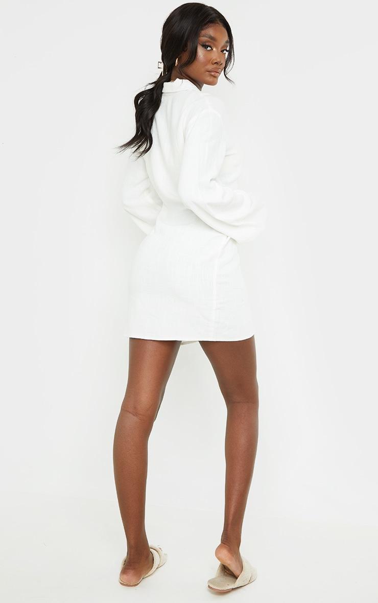 Tall White Lightweight Button Detail Shirt Dress 2