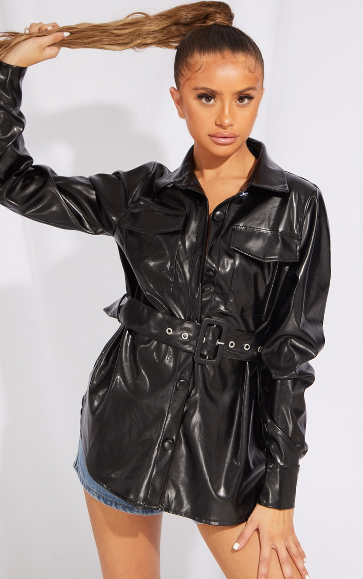 Petite Black PU Buckle Detail Jacket 1