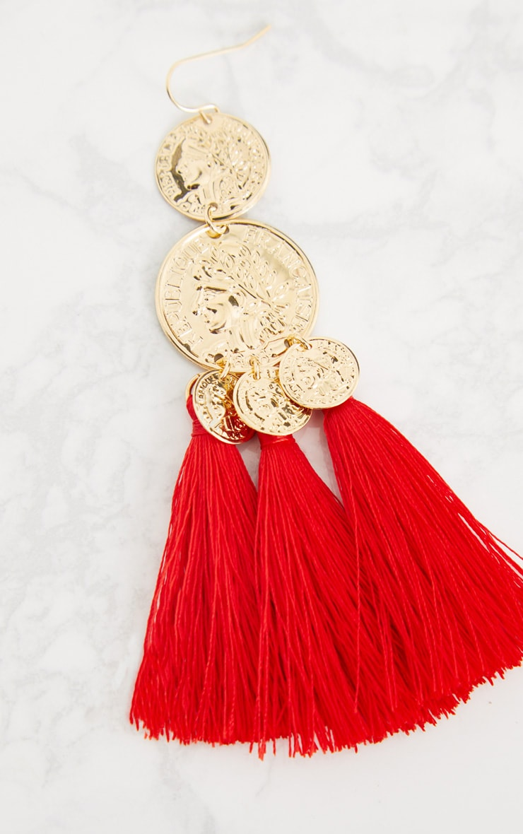 Red Coin Drop Tassel Earrings 4