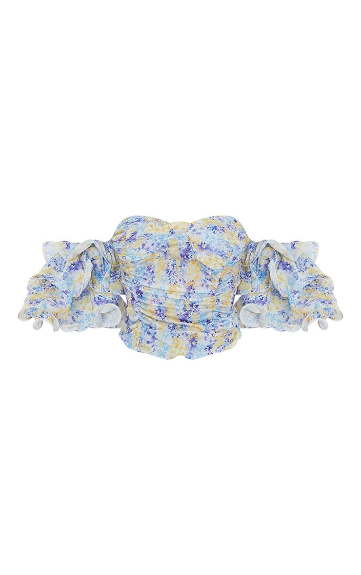 Lilac Woven Print Bardot Cup Detail Crop Top 5