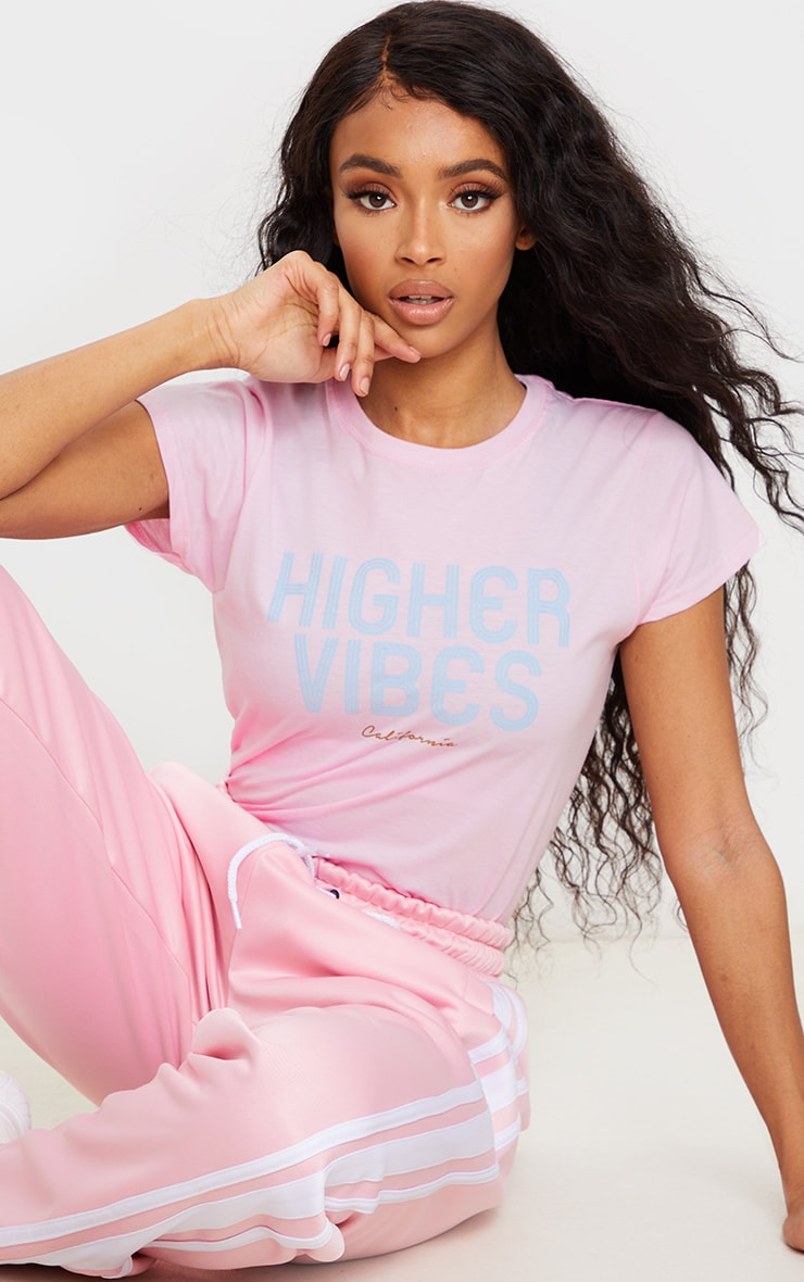 Baby Pink Higher Vibes Printed T Shirt 1