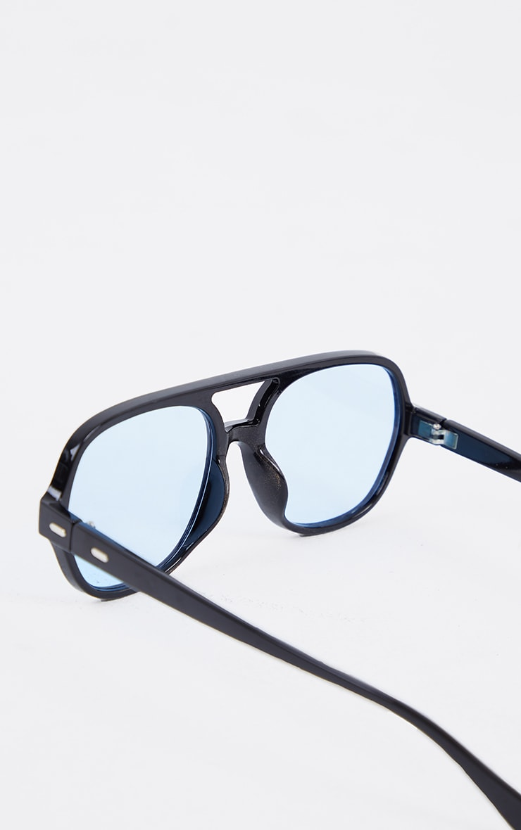Black Plastic Frame Blue Lens Aviator Sunglasses 3
