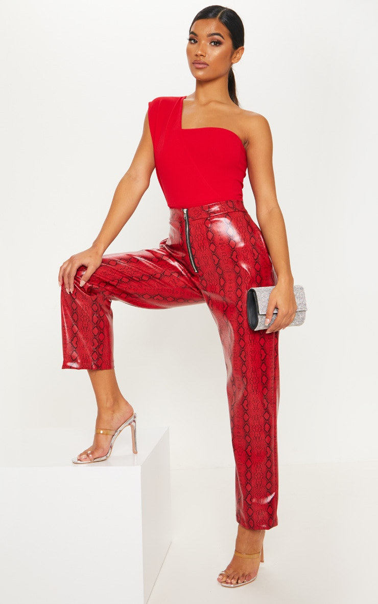 Red One Shoulder Bodysuit 5