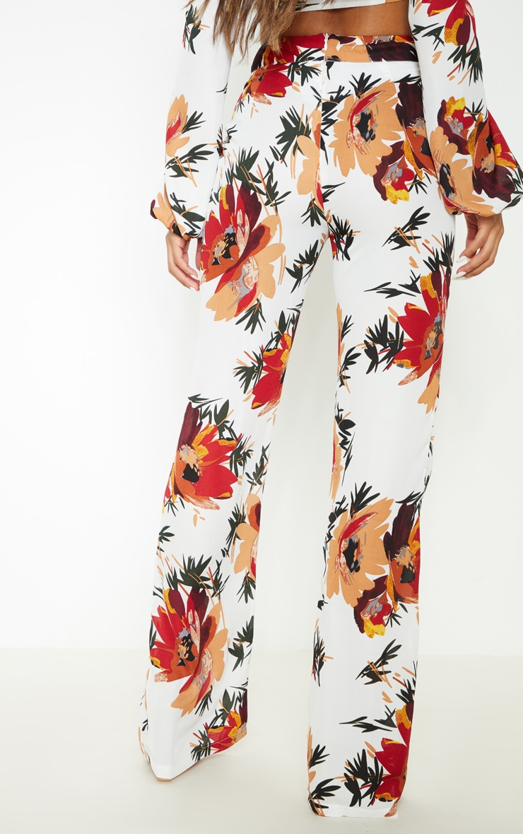 White Floral Print Wide Leg Trousers 4