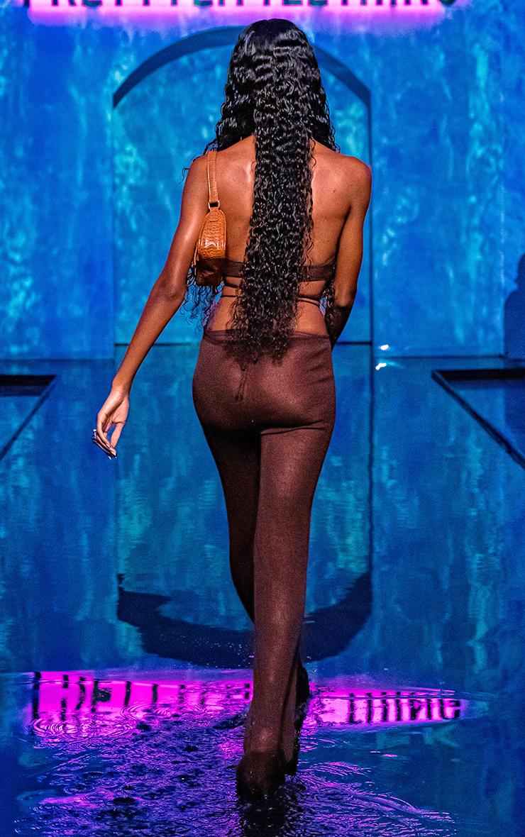 Chocolate Tie Waist Detail Sheer Knit Flare Pants 2