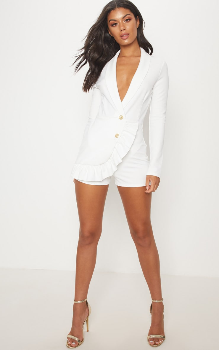 White Frill Long Sleeve Tux Romper 4