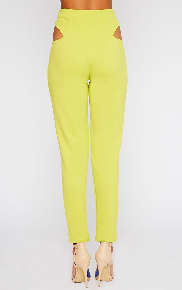 Zaylia Lime Cut Out Detail Trousers 2
