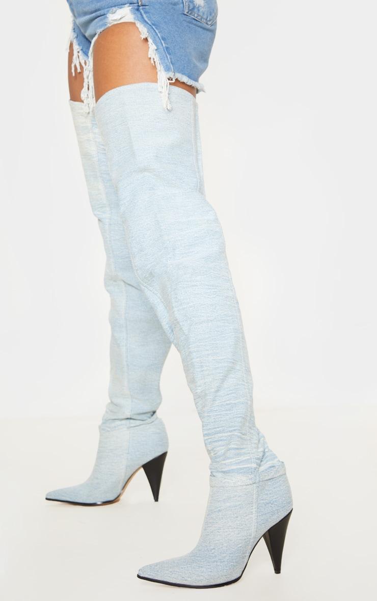 Denim Cone Heel Slouch Thigh Boot 2