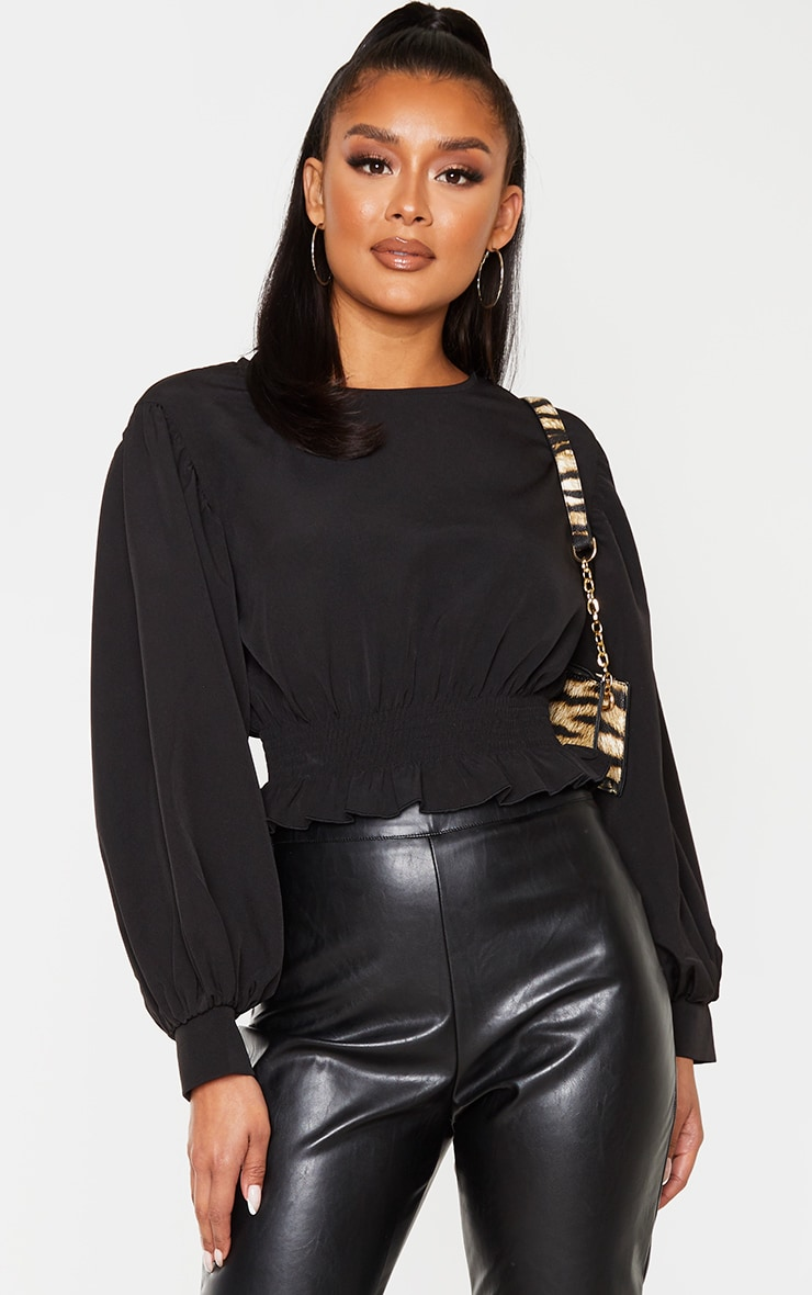 Black Woven Puff Sleeve Ruched Waist Blouse  1