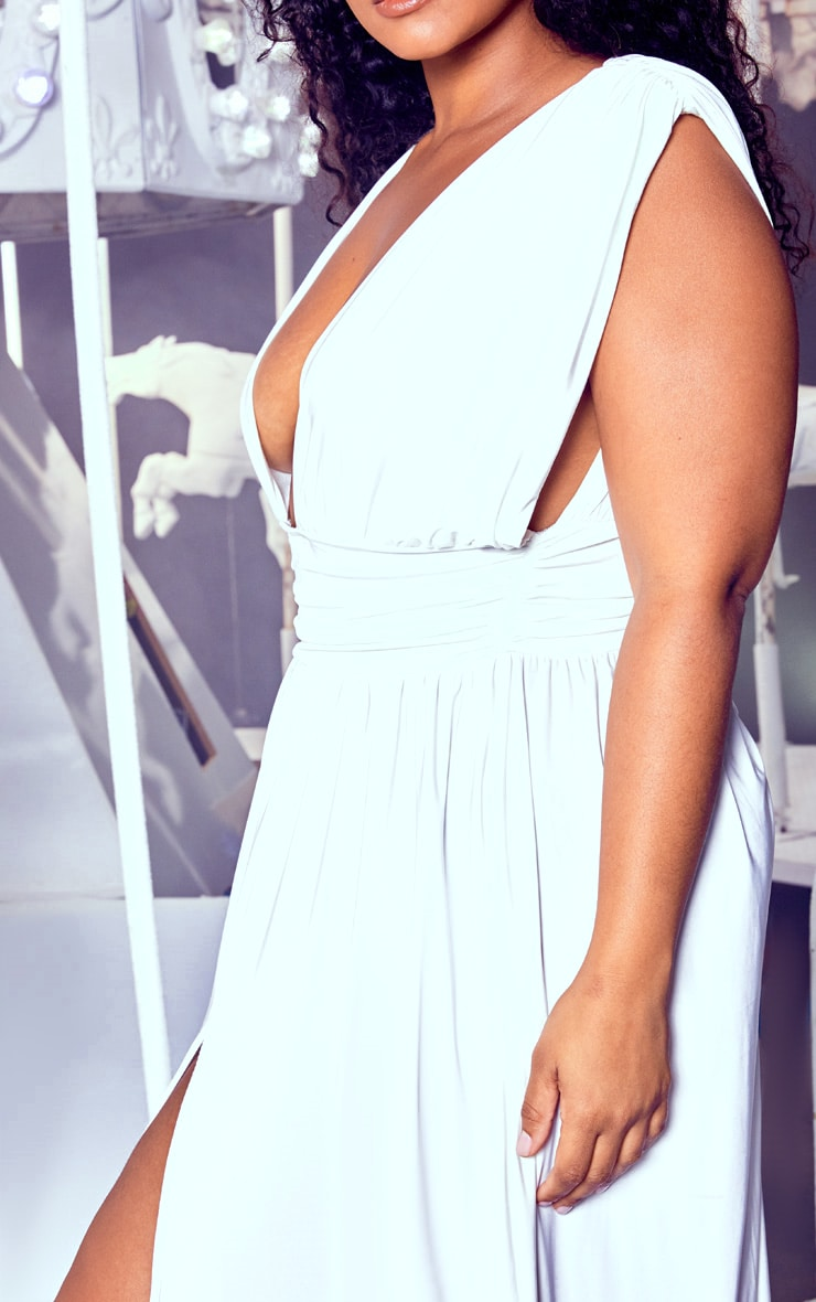 Plus White Ruched Plunge Maxi Dress 5