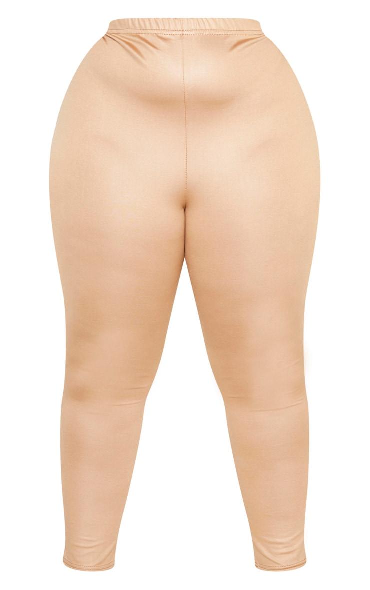 Plus Camel Wet Look Legging 3