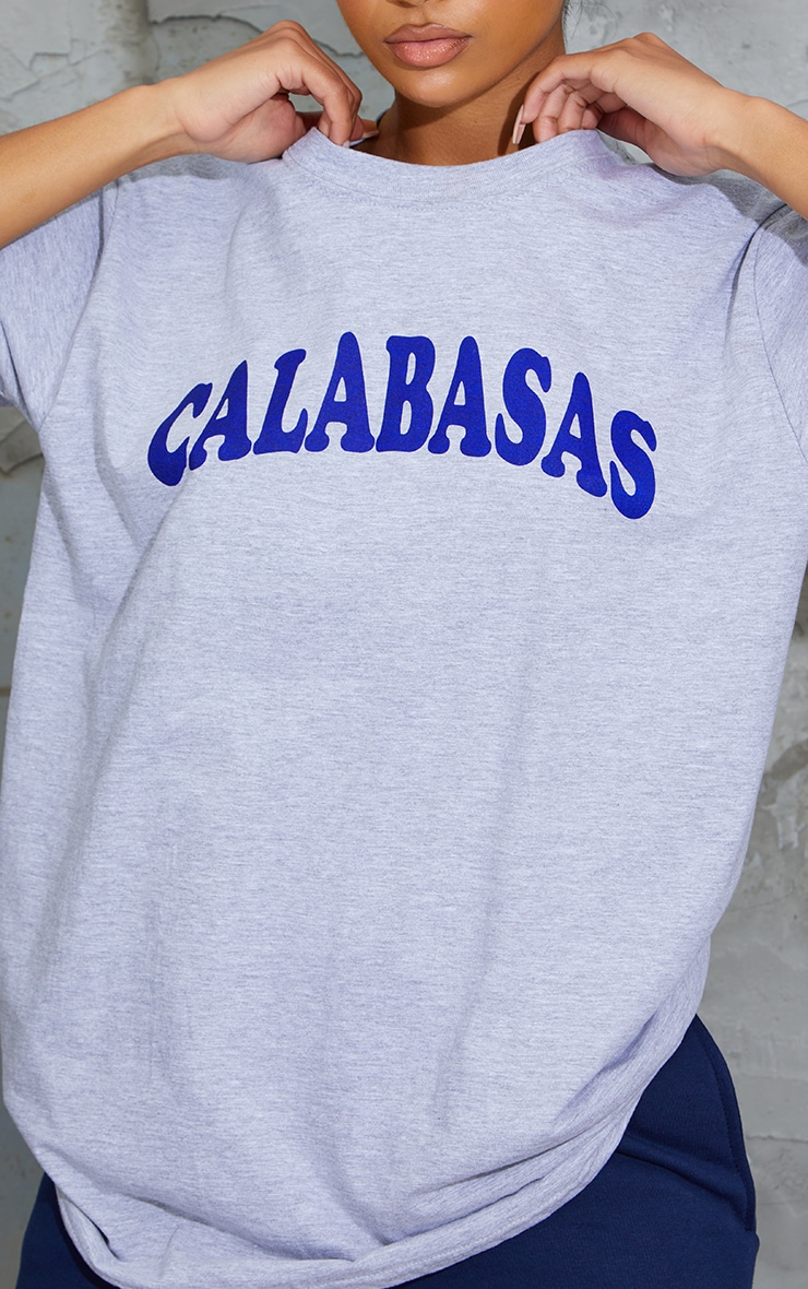 Grey Calabasas Slogan Printed T Shirt 4