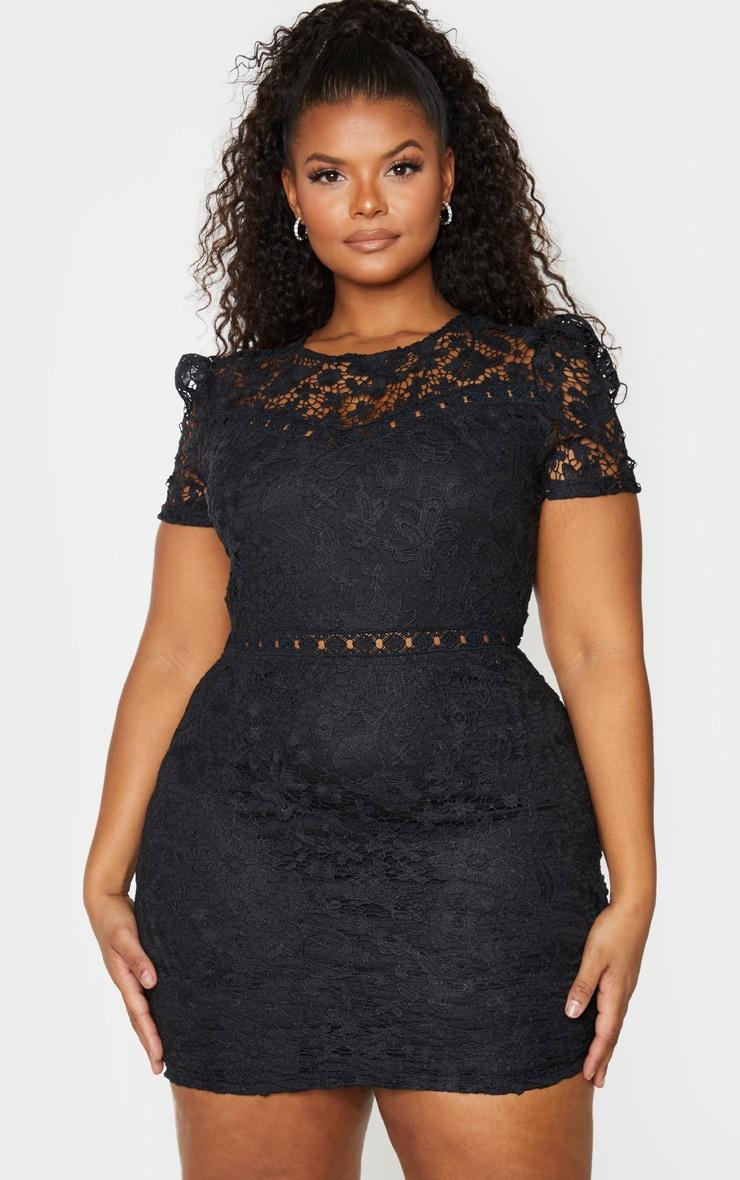 Plus Black Lace Backless Cap Sleeve Bodycon Dress 3