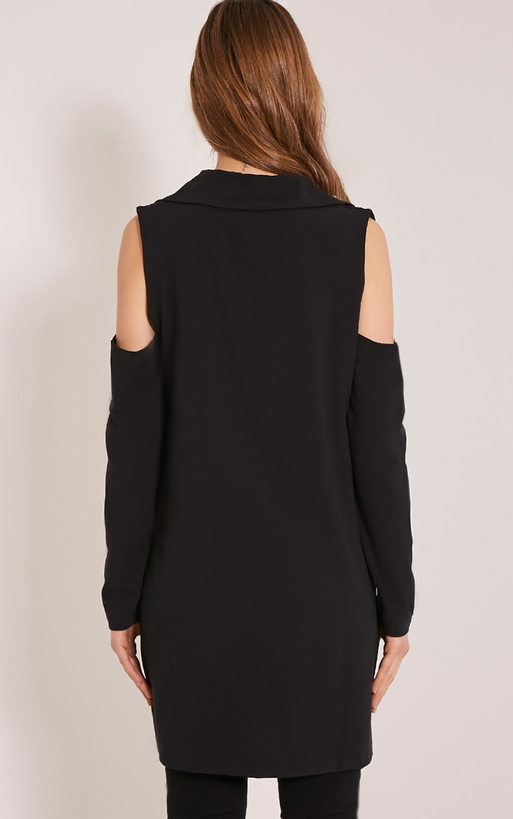 Ora Black Cold Shoulder Blazer 2