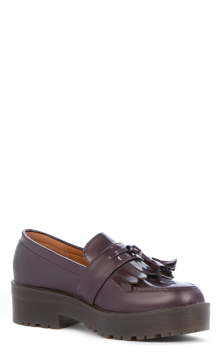 Charis Patent Burgundy Chunky Loafer 2