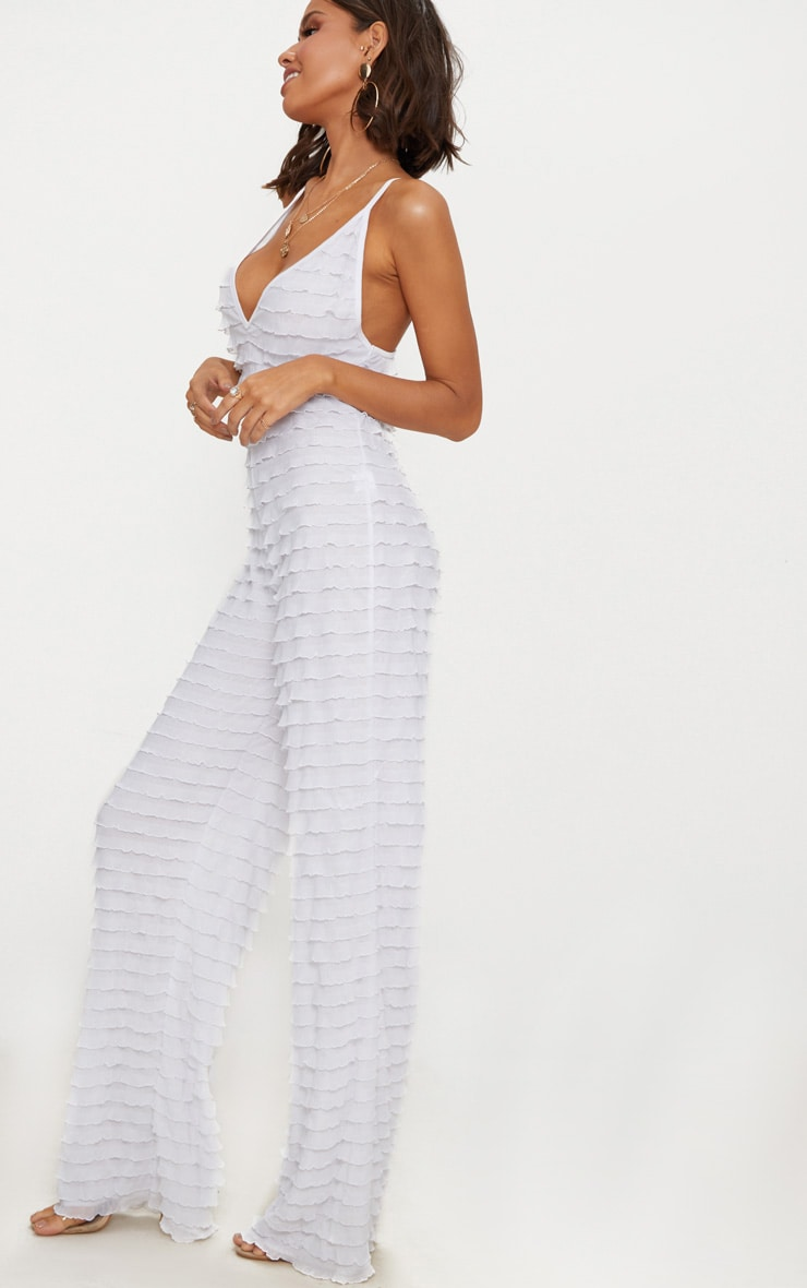 White Frill Strappy Plunge Jumpsuit 4