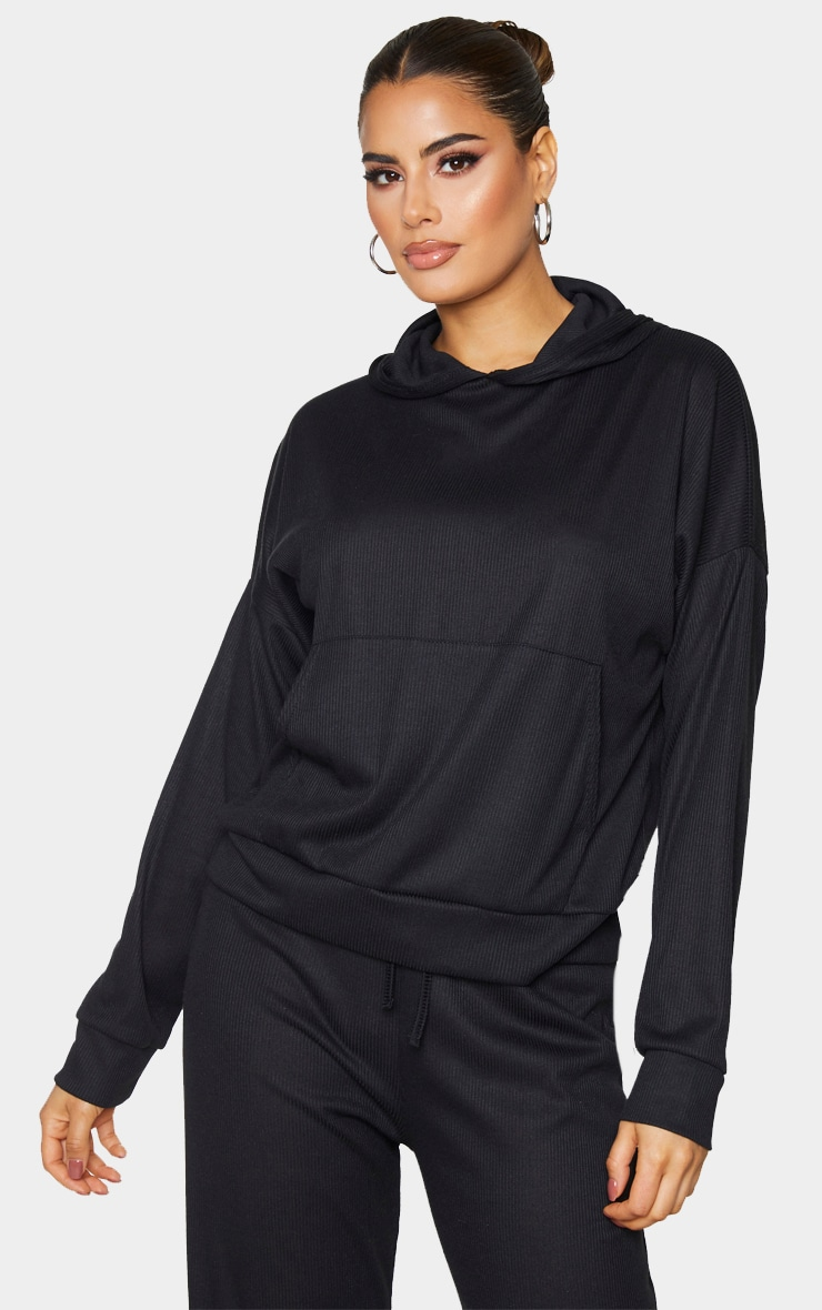 Tall Black Ribbed Oversized Hoodie 1