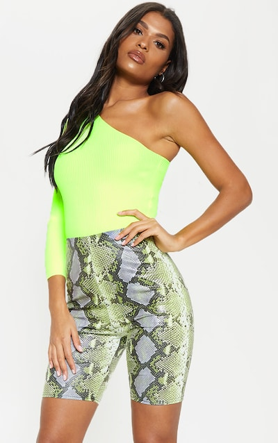 64cacb05aecee Neon Lime Coated Snake Print Cycle Short