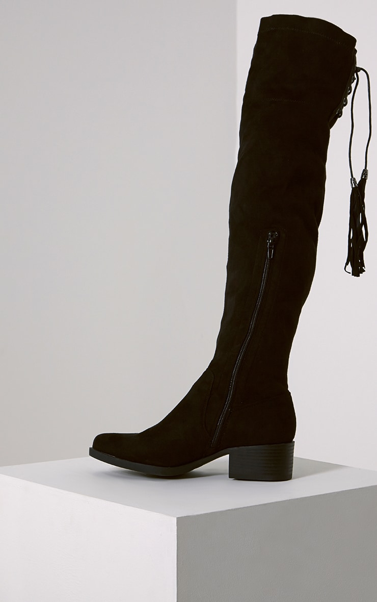 Tracey Black Faux Suede Tassel Thigh Boots 4