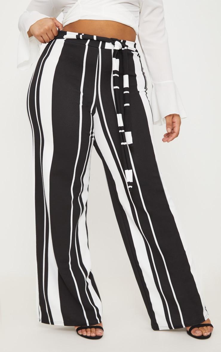 Plus Black Crepe Tie Waist Wide Leg Trousers 2