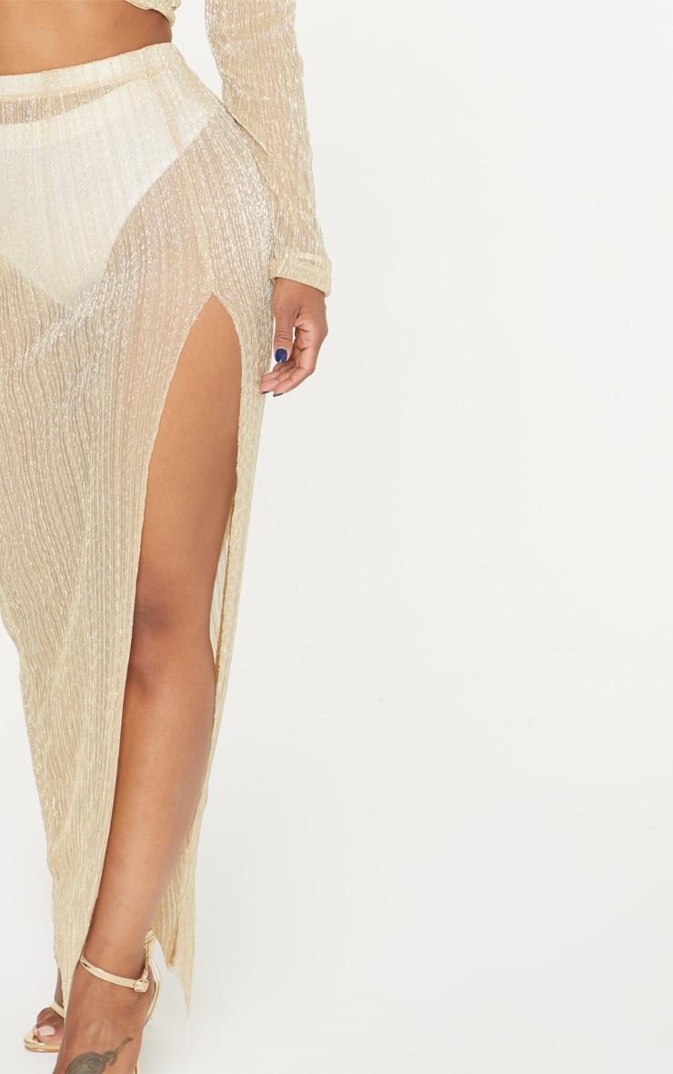 Shape Gold Metallic Pleated Split Leg Maxi Skirt 5