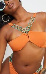 Orange Marble Ring Trim Cross Front Bikini Top 4