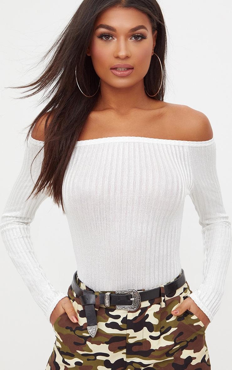 Cream Ribbed Shine Bardot Thong Bodysuit 1