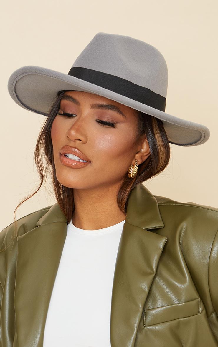 Grey Fedora Hat 1