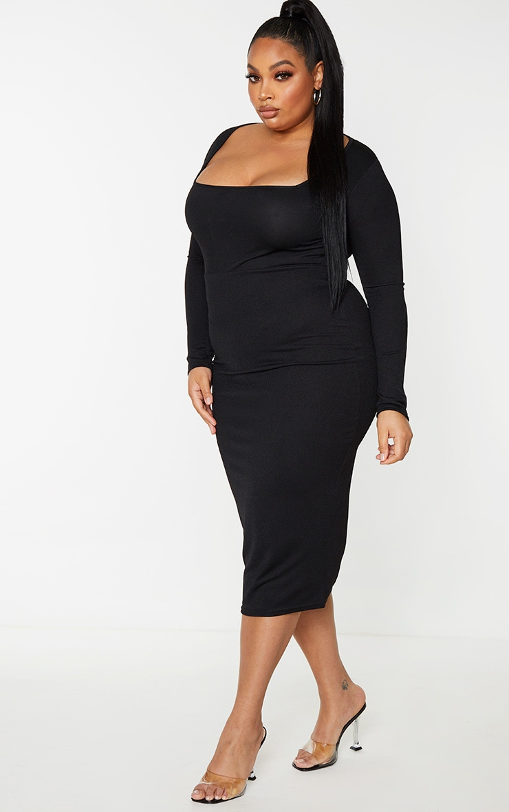 Plus Black Square Neck Long Sleeve Midaxi Dress 3