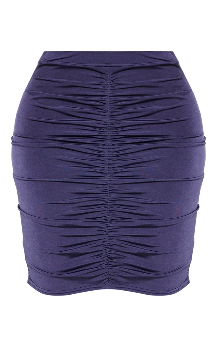 Shape Midnight Blue Ruched Front Mini Skirt 3