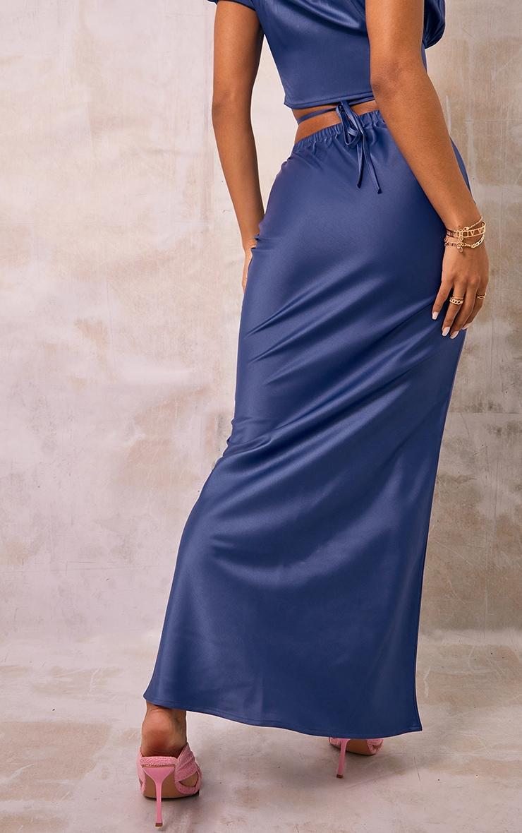 Blue Satin Maxi Skirt 3