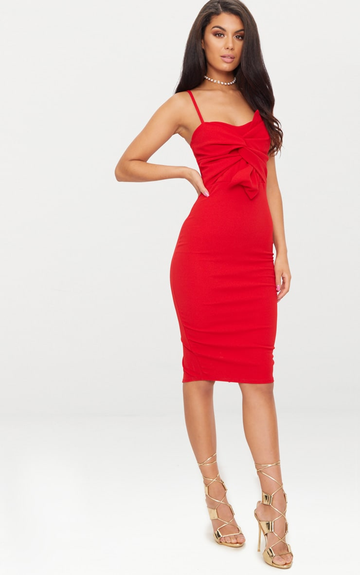 Red Strappy Bow Detail Midi Dress 4