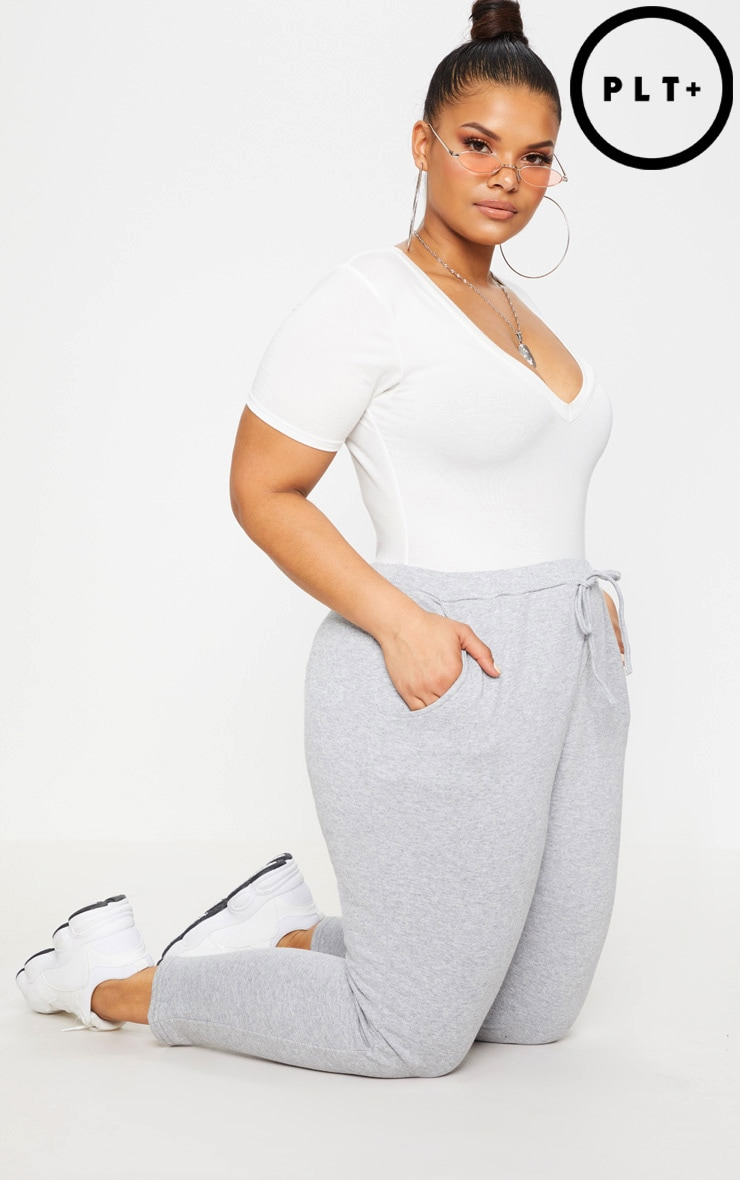 Plus Grey Marl Cropped Joggers