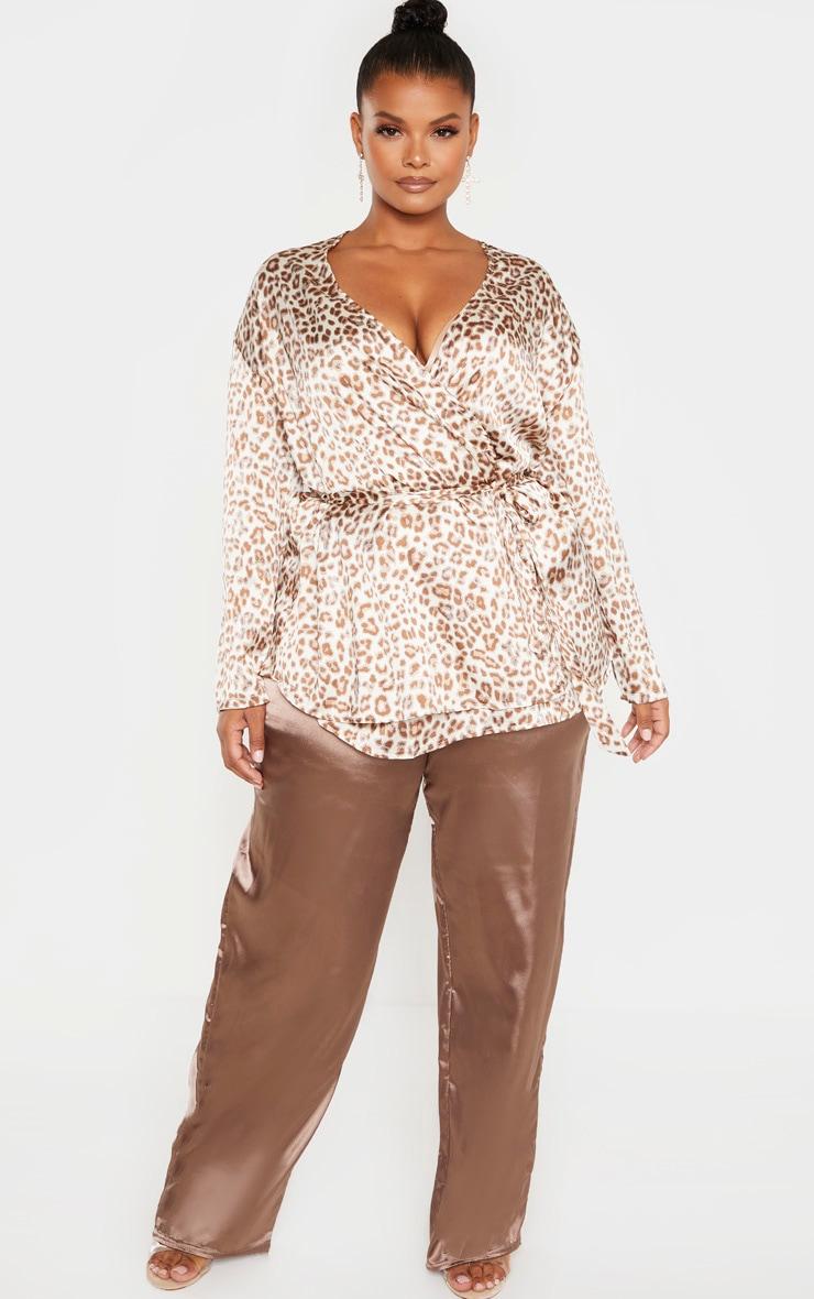 Plus Cream Leopard Print Tie Waist Blouse 4