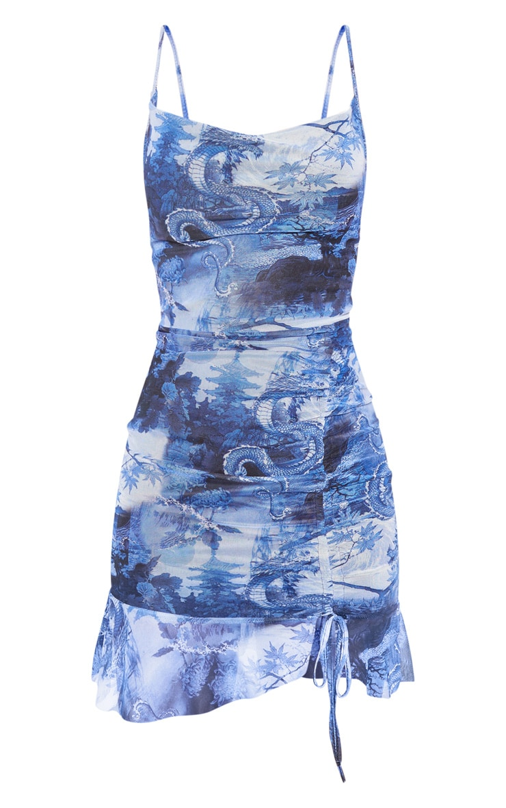 Blue Mesh Oriental Print Ruched Bodycon Dress 3