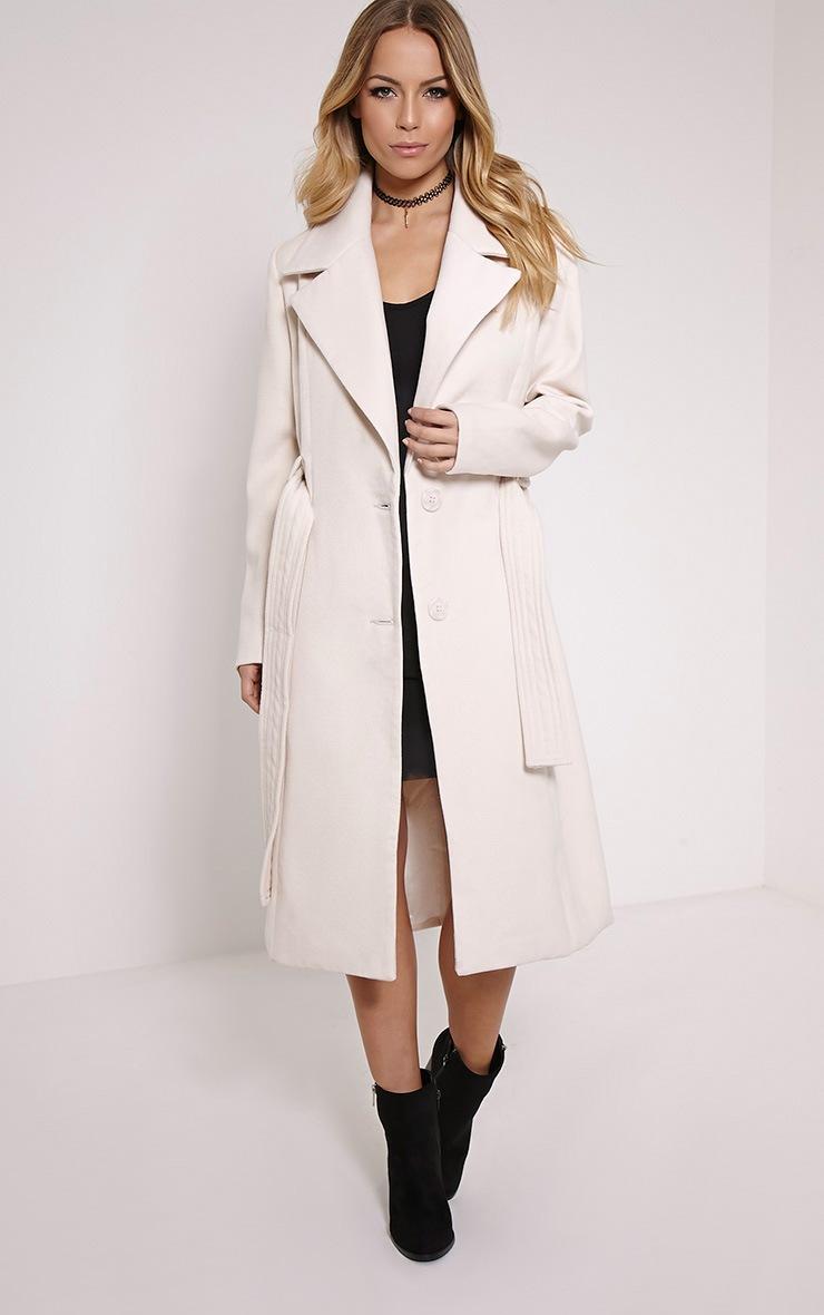 Gwenore Cream Belted Waist Longline Coat 1
