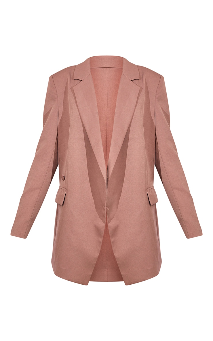 Mocha Oversized Asymmetric Button Detail Suit Blazer 5