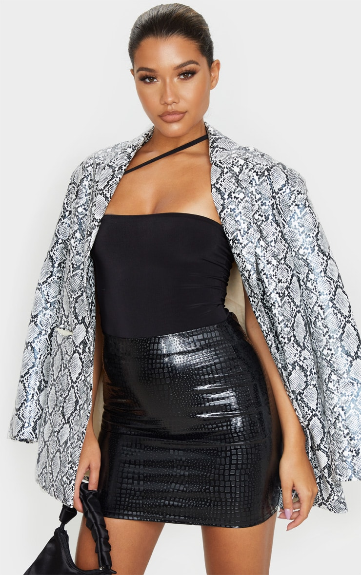 Black Faux Leather Croc Print Mini Skirt 1