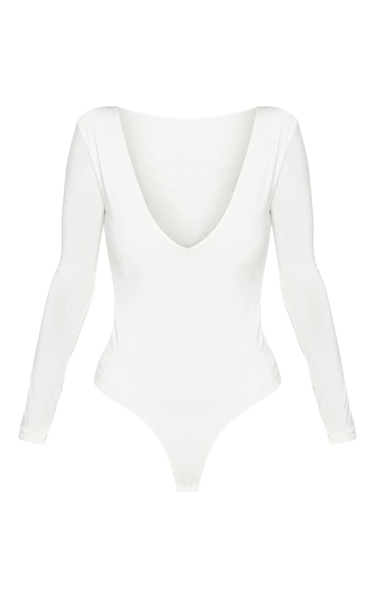 Cream V Neck Slinky Bodysuit 2