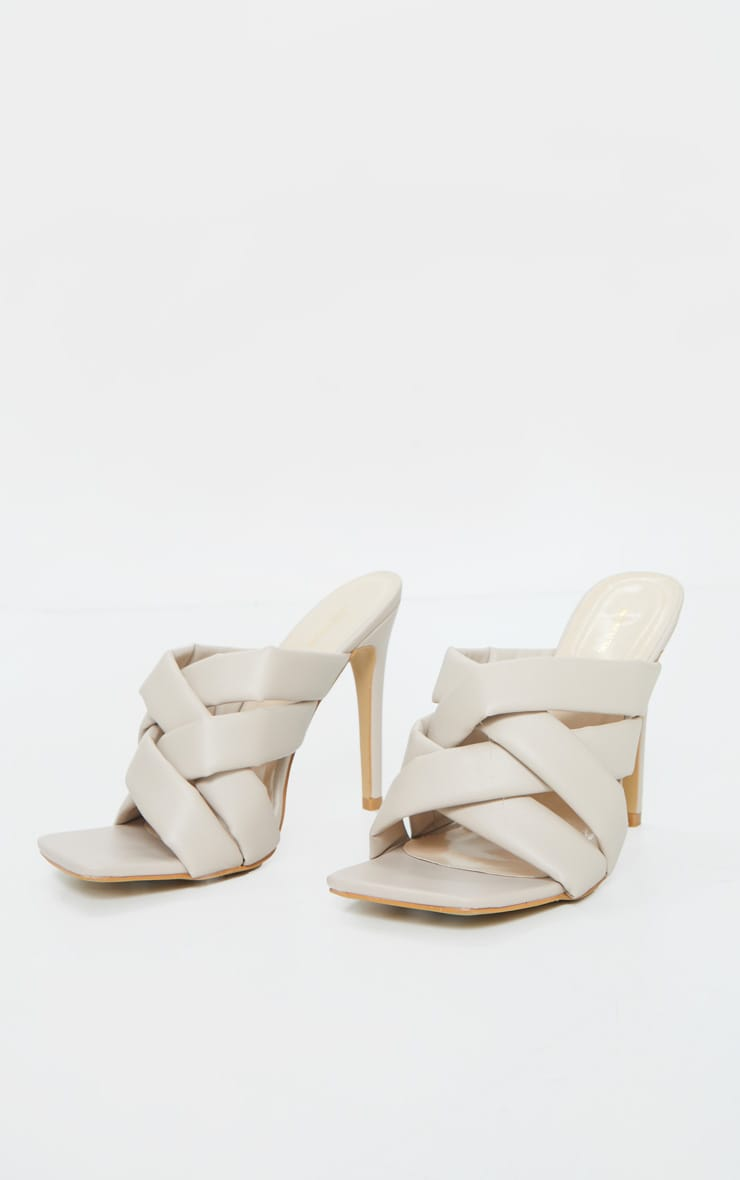 Cream Wide Fit Quilted Woven Strap High Mule Heels 3