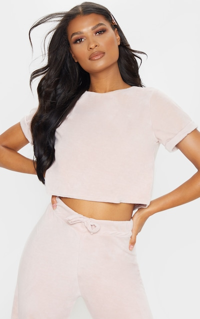 90ef31feb8e Rose Pink Velour Crop T-shirt. More colours available