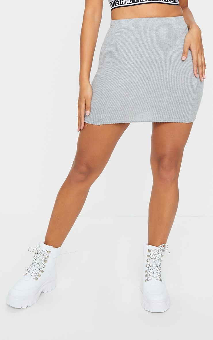 Shape Grey Brushed Rib Seam Detail Bodycon Skirt 2