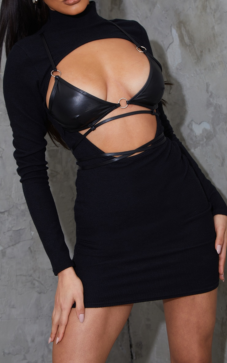 Black Ribbed Cut Out Detail PU Bralette Bodycon Dress 4