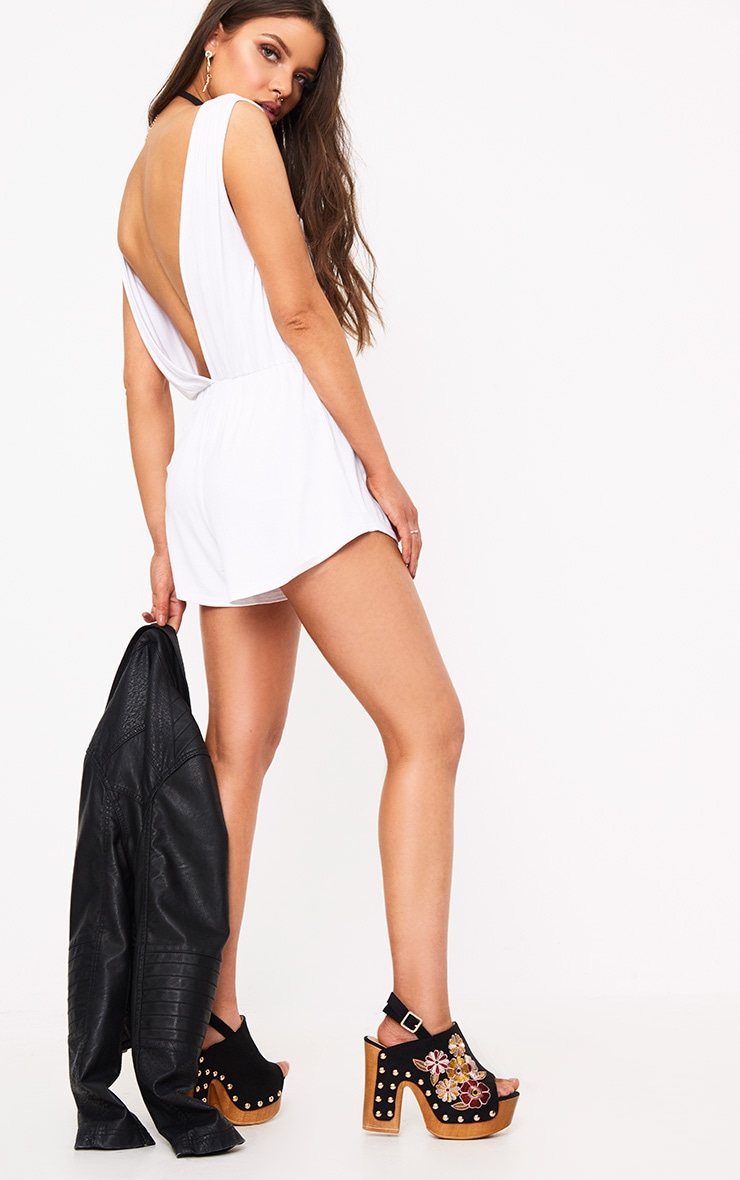 Braylee Basic White Playsuit 4